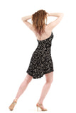 italian flocked mesh halter dress - Poema Tango Clothes: handmade luxury clothing for Argentine tango