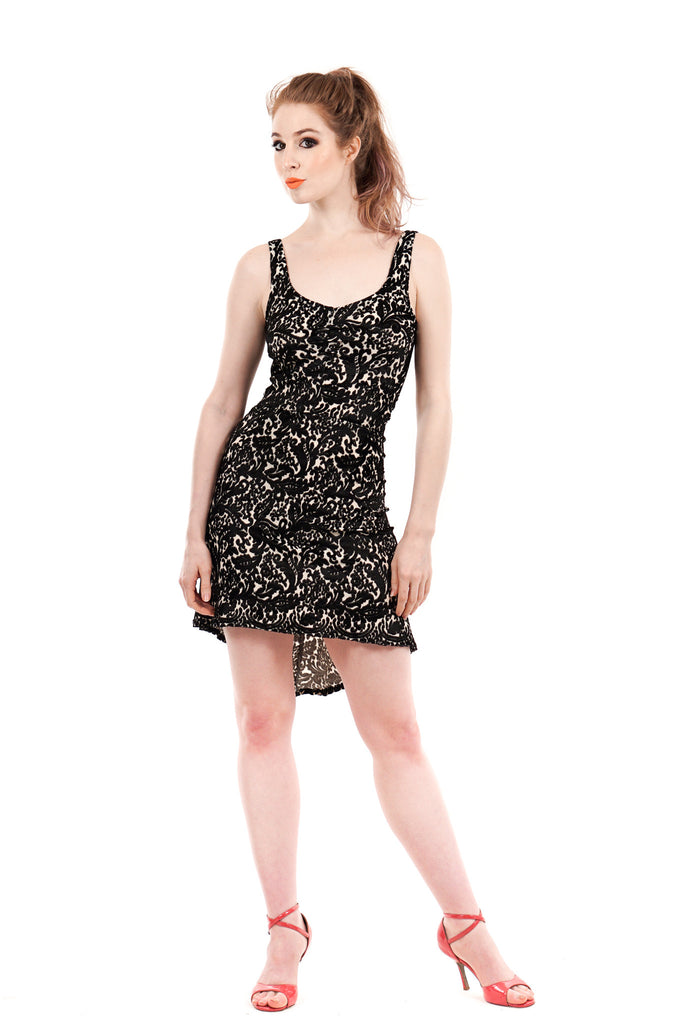 italian flocked mesh tank dress - Poema Tango Clothes: handmade luxury clothing for Argentine tango