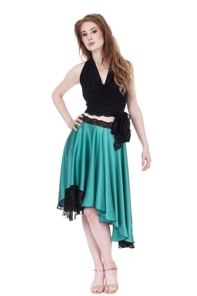 jade & stained glass roses silk skirt - Poema Tango Clothes: handmade luxury clothing for Argentine tango