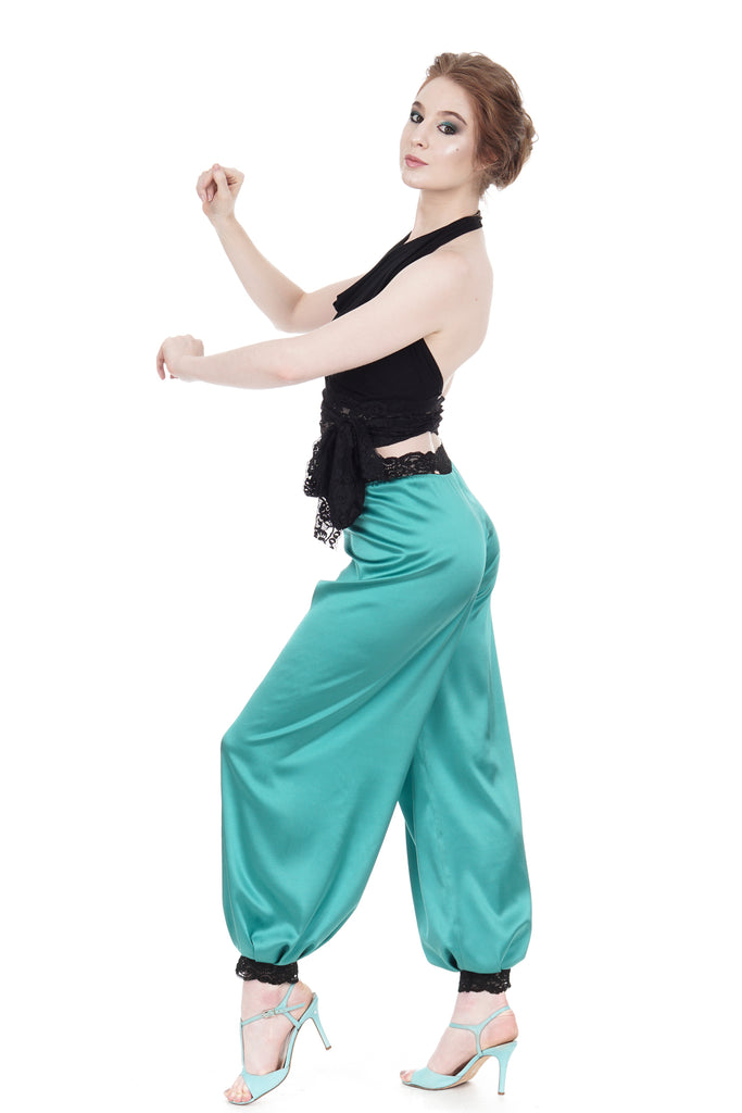 jade silk tango trousers - Poema Tango Clothes: handmade luxury clothing for Argentine tango