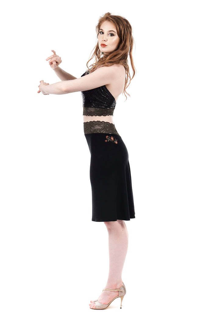 jet sport jersey embellished fluted skirt - Poema Tango Clothes: handmade luxury clothing for Argentine tango