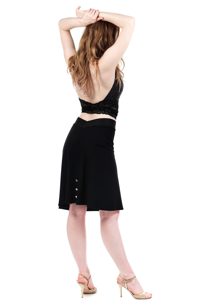 jet sport jersey fluted skirt with crystal buttons - Poema Tango Clothes: handmade luxury clothing for Argentine tango