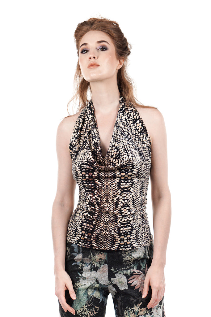 jeweled scales draped halter - Poema Tango Clothes: handmade luxury clothing for Argentine tango