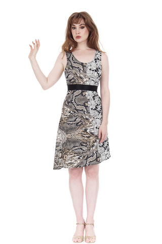 lace menagerie ribbon-belted dress