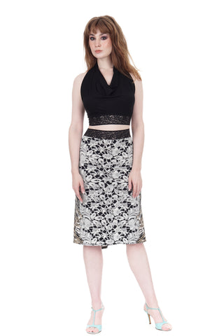 lace menagerie ruched skirt