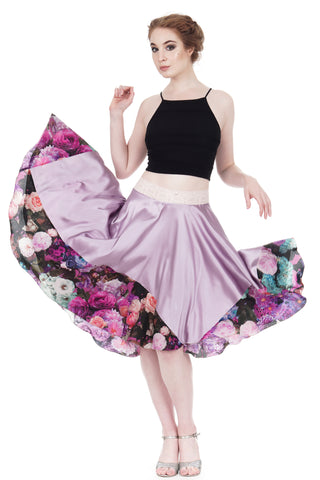 lavender & Italian bouquet silk skirt