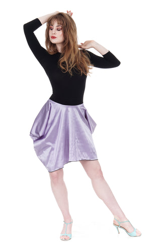 lavender silk satin bustled skirt - CLEARANCE