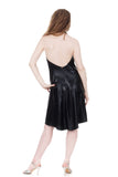 leatherette draped dress - Poema Tango Clothes: handmade luxury clothing for Argentine tango