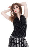 leatherette draped halter - Poema Tango Clothes: handmade luxury clothing for Argentine tango