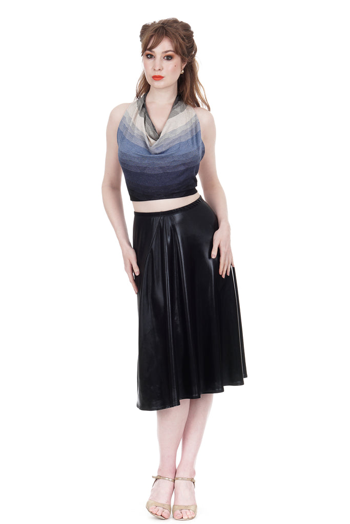 leatherette draped skirt - Poema Tango Clothes: handmade luxury clothing for Argentine tango