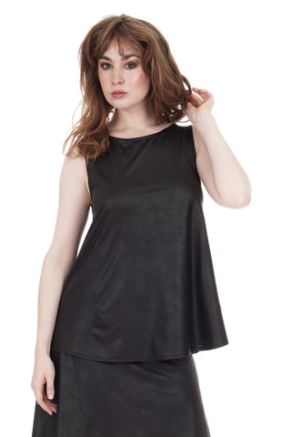 leatherette draped tank