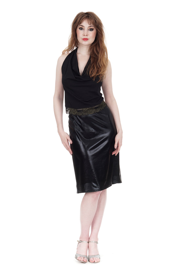 leatherette ruched skirt - Poema Tango Clothes: handmade luxury clothing for Argentine tango