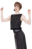 leatherette ruffle top - Poema Tango Clothes: handmade luxury clothing for Argentine tango
