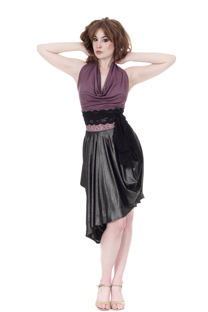 liquid metal bustle skirt - Poema Tango Clothes: handmade luxury clothing for Argentine tango