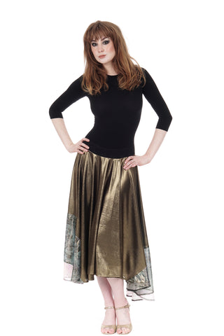 liquid moonlight & goldshot silk skirt