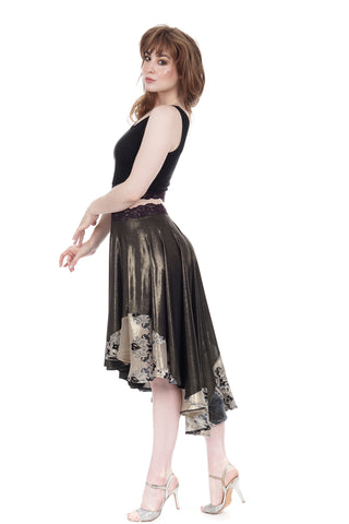 liquid moonlight & goldshot velvet skirt