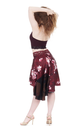 lotus & wine circle skirt - CLEARANCE
