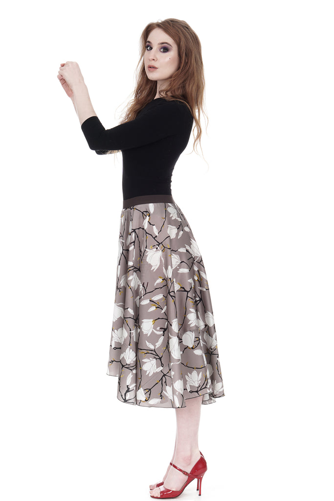 lotus branch silk skirt - Poema Tango Clothes: handmade luxury clothing for Argentine tango