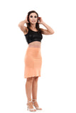 luminous peach ruched skirt - Poema Tango Clothes: handmade luxury clothing for Argentine tango