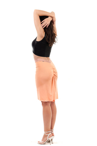 luminous peach ruched skirt