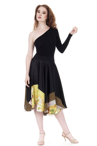 marigold-dipped inky silk skirt