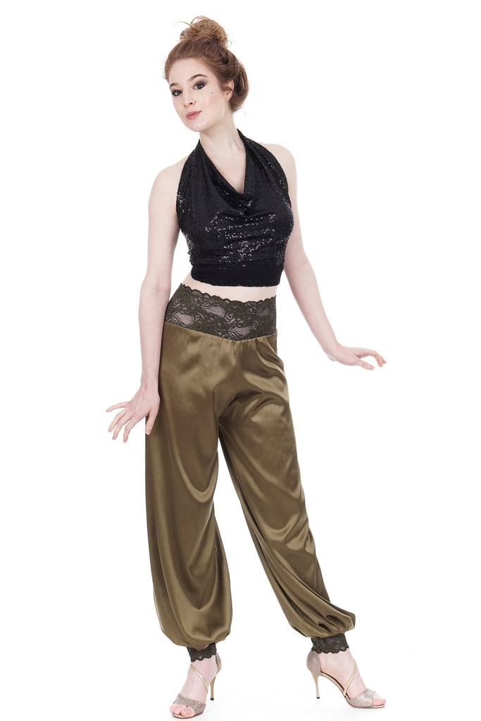 martini olive silk tango trousers - Poema Tango Clothes: handmade luxury clothing for Argentine tango