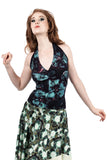 mazarine blooms halter - Poema Tango Clothes: handmade luxury clothing for Argentine tango