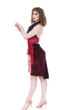 merlot burnout ruched skirt - Poema Tango Clothes: handmade luxury clothing for Argentine tango