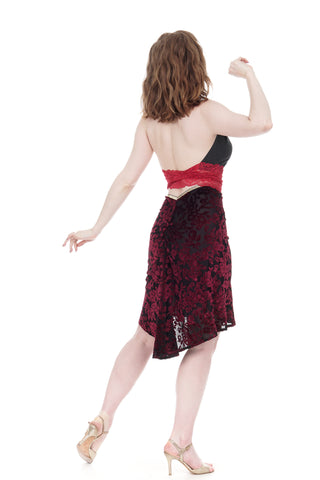 merlot burnout ruched skirt