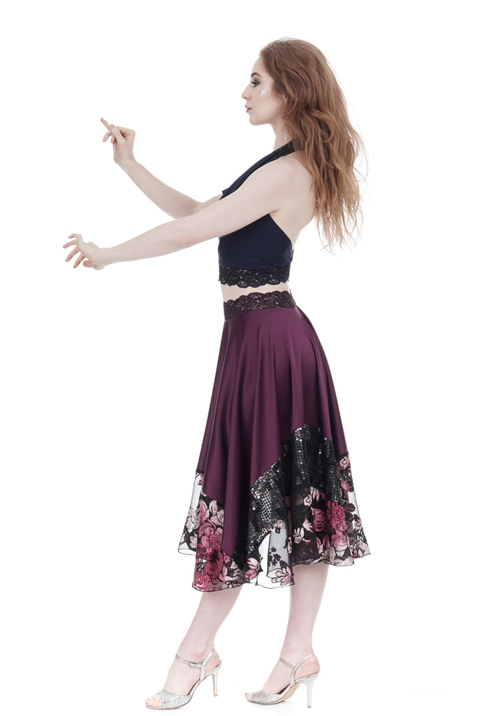 merlot sequin forest circle skirt - Poema Tango Clothes: handmade luxury clothing for Argentine tango