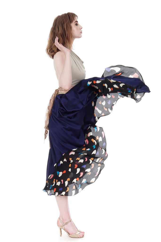 midnight sea & starships silk skirt - Poema Tango Clothes: handmade luxury clothing for Argentine tango