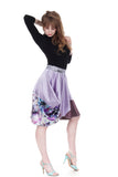 mixed & bustled lavender silk skirt - Poema Tango Clothes: handmade luxury clothing for Argentine tango