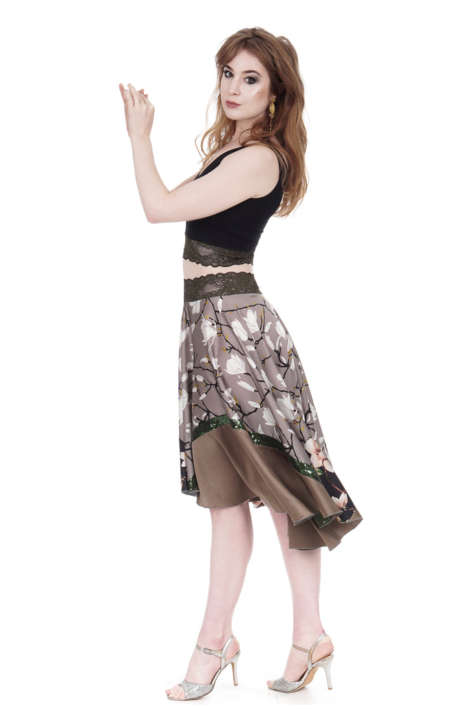 mixed lotus silk skirt - Poema Tango Clothes: handmade luxury clothing for Argentine tango