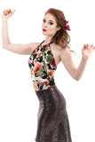 modern blooms halter - Poema Tango Clothes: handmade luxury clothing for Argentine tango