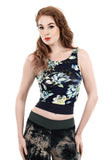 navy magnolia dance tank - Poema Tango Clothes: handmade luxury clothing for Argentine tango