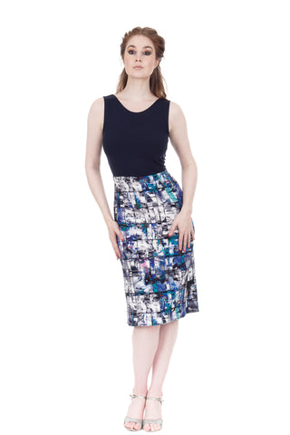 navy rib & blue palette ruched dress