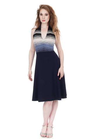 navy rib and twilight ombre dress