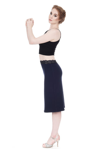 navy rib pencil skirt