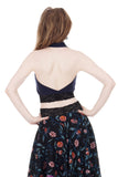 navy rib signature halter - Poema Tango Clothes: handmade luxury clothing for Argentine tango