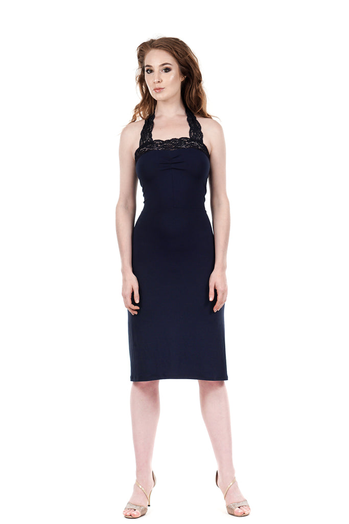 navy ruched halter tie dress - Poema Tango Clothes: handmade luxury clothing for Argentine tango