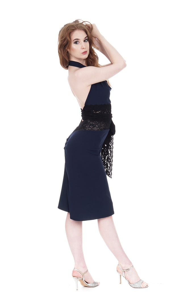 navy ruched skirt - Poema Tango Clothes: handmade luxury clothing for Argentine tango