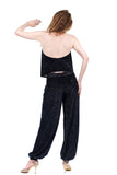 navy sparkle burnout tango trousers - Poema Tango Clothes: handmade luxury clothing for Argentine tango