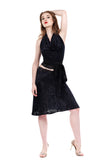 navy sparkle draped & flared skirt - Poema Tango Clothes: handmade luxury clothing for Argentine tango