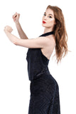 navy sparkle draped halter - Poema Tango Clothes: handmade luxury clothing for Argentine tango