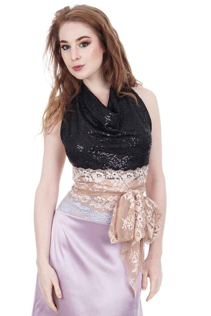 night spangle and blush lace wrap top - Poema Tango Clothes: handmade luxury clothing for Argentine tango