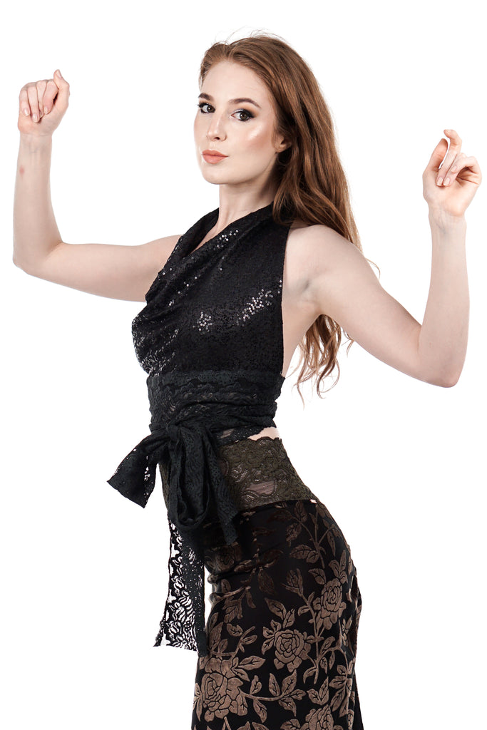 night spangle and forest lace wrap top - Poema Tango Clothes: handmade luxury clothing for Argentine tango