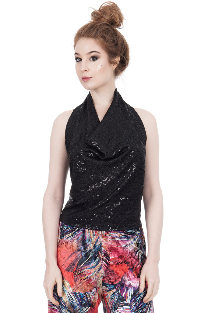 night spangle draped halter - Poema Tango Clothes: handmade luxury clothing for Argentine tango