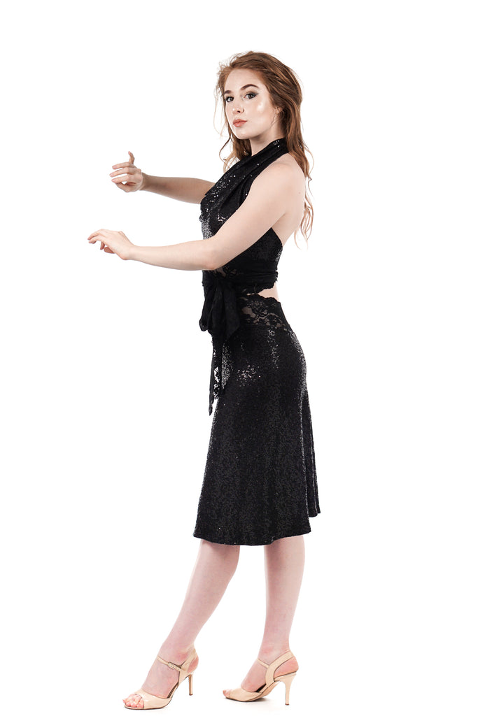 night spangle fluted skirt - Poema Tango Clothes: handmade luxury clothing for Argentine tango