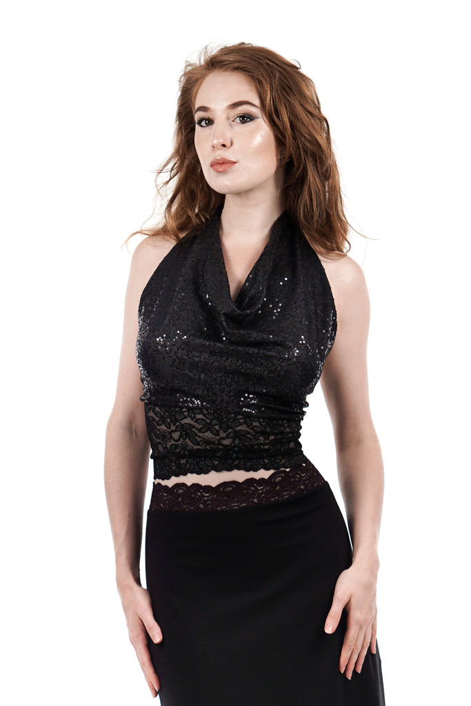 night spangle signature halter - Poema Tango Clothes: handmade luxury clothing for Argentine tango