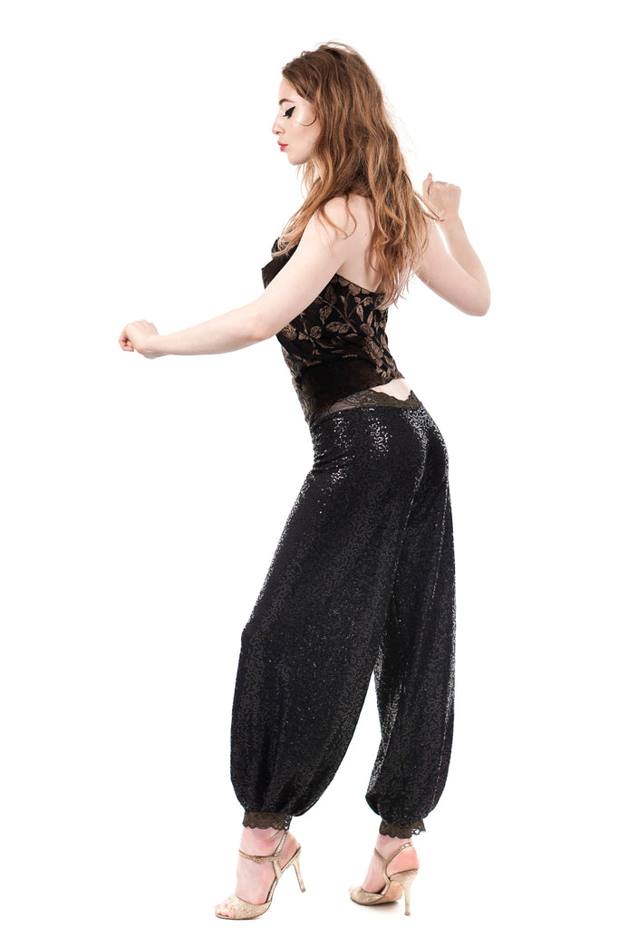 night spangle tango trousers - Poema Tango Clothes: handmade luxury clothing for Argentine tango